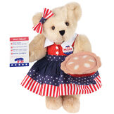 """15"""" Mom for President - Front view of standing jointed bear in a red, white and blue stars and stripes dress with matching head bow, with a """"Mom for President"""" pin holding an apple pie and a voting ballot - Buttercream brown fur image number 1"""
