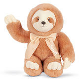 """13"""" Cuddle Cub Sloth with Bo - Front of seated golden brown sloth with tan muzzle and velvet bow waving its arm image number 0"""