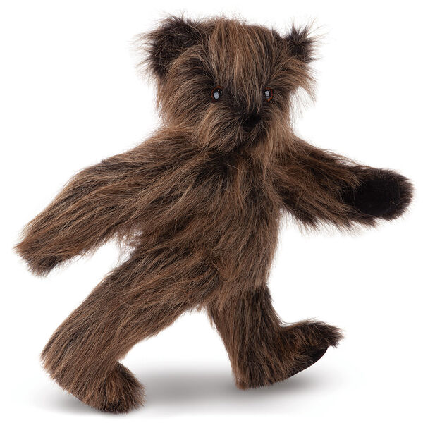 """15"""" Sasquatch Bear - Three quarter view of standing jointed bear with long brown fur image number 0"""