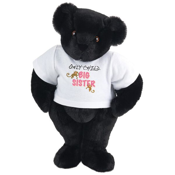 "15"" New Big Sister T-Shirt Bear - Front view of standing jointed bear dressed in white t-shirt with brown and pink graphic that says, ""only child (struck out) Big Sister"" with monkeys hanging from ""Sister"" - Black fur image number 3"