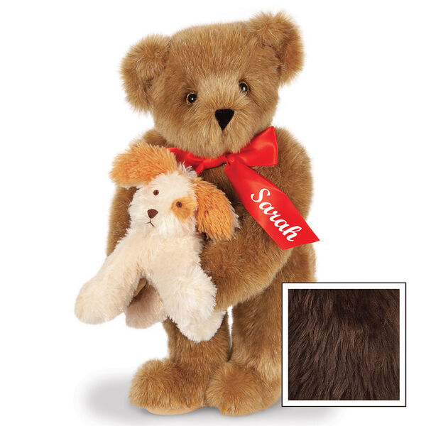 """15"""" Puppy Love Bear - 15"""" Standing Bear wearing a red satin bow and comes with plush puppy. Bow is personalized with """"Sarah"""" on the left tail - Espresso image number 10"""