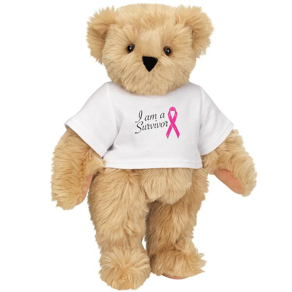 """15"""" Breast Cancer Survivor T-Shirt Bear - Standing jointed bear dressed in white t-shirt with bright pink cancer ribbon and says, """" I am a Survivor"""" - Maple brown fur image number 5"""