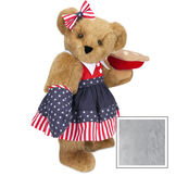 """15"""" All American Mom Bear - Standing jointed bear in a red, white and blue stars and stripes dress with matching head bow and oven mitt holding an apple pie - Gray image number 4"""