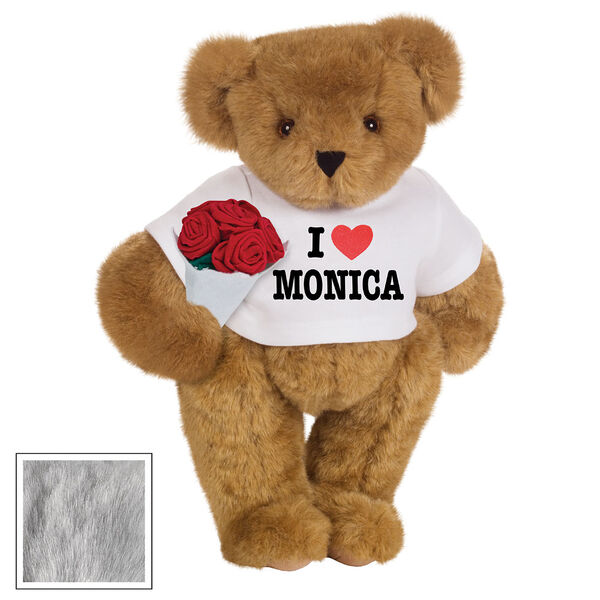 """15"""" """"I HEART You"""" Personalized T-Shirt Bear with Roses - Standing Jointed Bear in white t-shirt that says I """"Heart"""" You in black and red lettering holding a red rose bouquet - Gray image number 5"""