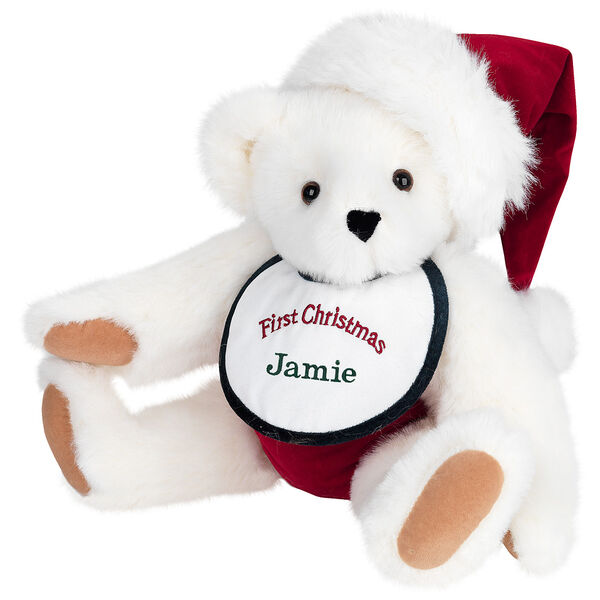 "15"" Baby's First Christmas Bear - Seated jointed bear dressed in red velvet diaper with santa hat and white and green bib that says ' First Christmas' in red lettering. Bib is personalized with ""Jamie"" in dark green lettering - Vanilla white fur image number 2"