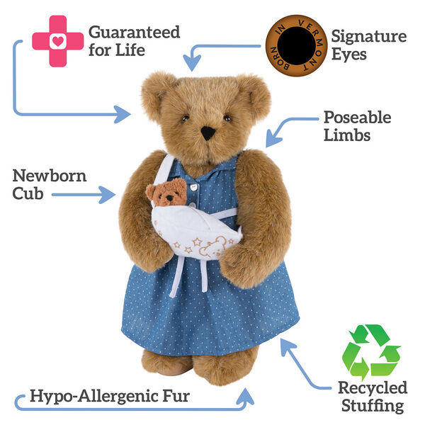 """15"""" Cub in the Oven - Standing pregnant jointed bear dressed in a blue dress with white dots, text around bear reads, """"Signature Eyes; Poseable Limbs;  Recycled Stuffing; Hypo-Allergenic Fur; Newborn Cub; Guaranteed For Life"""".  image number 2"""