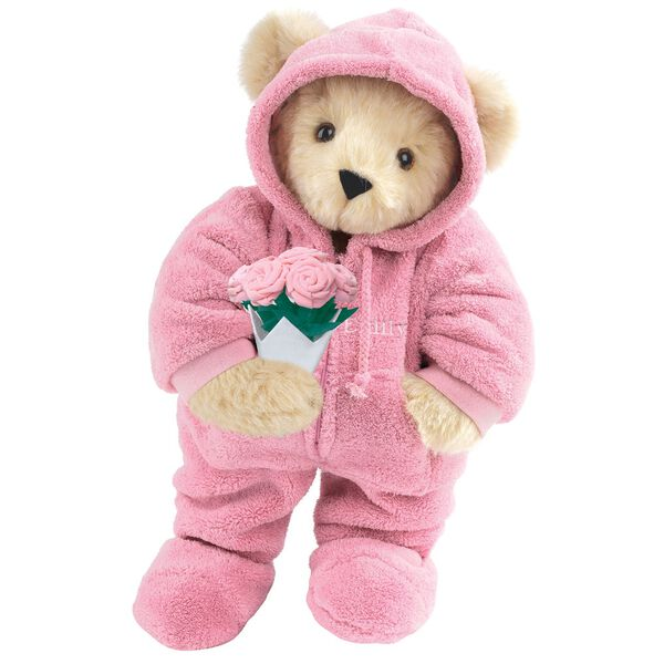 """15"""" Hoodie Footie Bear with Roses - Front view of standing jointed bear dressed in pink hoodie footie and holding pink bouquet of roses personalized with """"Emily"""" in white on left chest - Buttercream brown fur image number 1"""