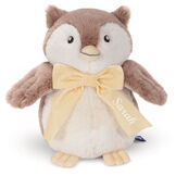 """13"""" Cuddle Cub Owl - Front view of standing brown and white plush owl with embroidered eyes and velvet ivory bow personalized with """"Sarah"""" in cream. image number 0"""