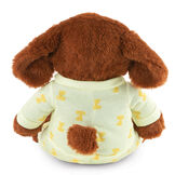 """13"""" PJ Pal Puppy - Back view of cinnamon brown Puppy with tan muzzle in yellow cotton onesie pajamas with Puppy print  image number 9"""