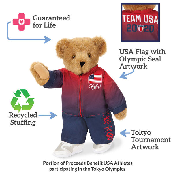 """15"""" Team USA Olympic Bear - Front View of red and blue track suit, text reads"""" Guaranteed for life; USA Flag with Olympic Seal Artwork; Tokyo Tournament Artwork; Recycled Stuffing"""". image number 2"""