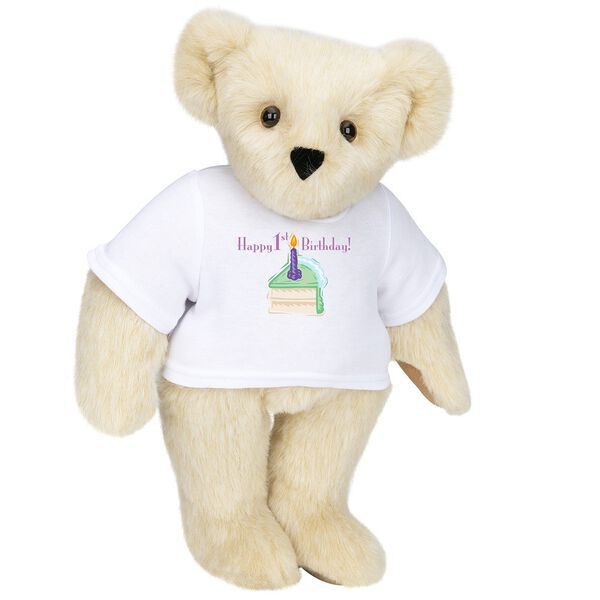 """15"""" 1st Birthday T-Shirt Bear- Vanilla Cake - Standing jointed bear dressed in a white t-shirt with a slice of vanilla cake artwork that says, """"Happy 1st Birthday!"""" on the front of the shirt - Buttercream brown fur image number 1"""