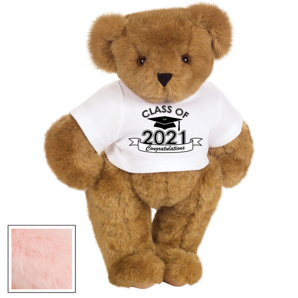"15"" Graduation T-Shirt Bear - Standing jointed bear dressed in a white t-shirt with Class of 2021 on the front, personalized with ""Congratulations"" - Pink image number 5"