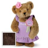 """15"""" Prettiest Mom Ever Bear - Front view of standing jointed bear dressed in a lilac sundress with felt flower pin that says """"Prettiest Mom"""" in pink and pink flower on ear. Dress is personalized with """"Anna"""" in cream on front - Vanilla white fur image number 7"""