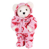"15"" Hoodie-Footie Sweetheart Bear - Front view of standing jointed bear dressed in pink hoodie footie with red heart patternpersonalized with ""Anne"" in black on left chest - Vanilla white fur image number 2"