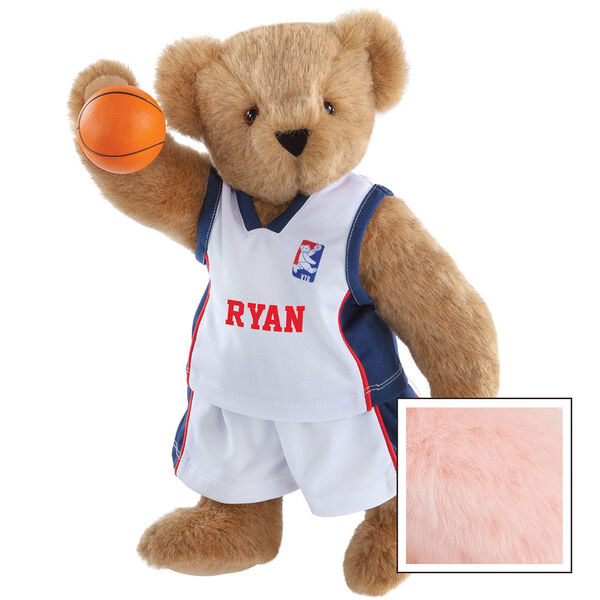 """15"""" Basketball Bear - Standing jointed bear dressed in white jersey and shorts with blue and red trim. Bear comes with orange basketball. Center front of shirt is personalized with """"Ryan"""" in red lettering - Pink image number 5"""