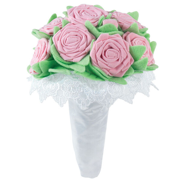 Large red velvet pink bouquet with green felt leaves in white satin and lace wrapping on elastics image number 0