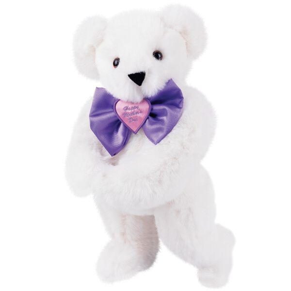 """15"""" Happy Mother's Day Bow Tie Bear - Standing jointed bear dressed in purple satin tie; """"Happy Mother's Day"""" is embroidered on pink satin heart center - Vanilla white fur image number 2"""