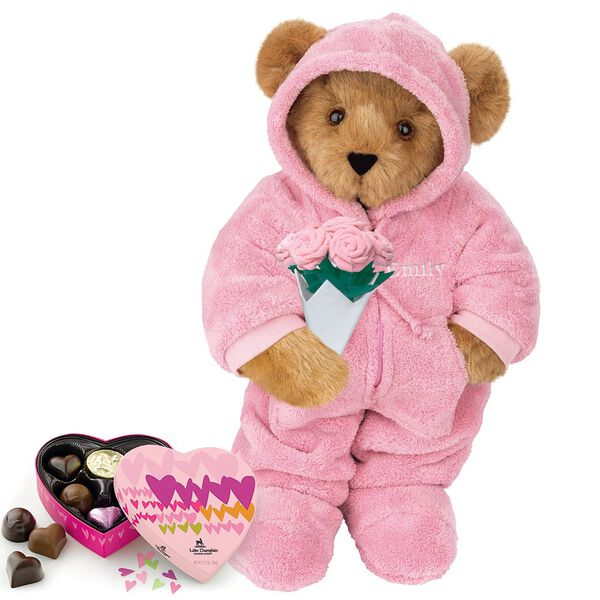 """15"""" Hoodie Footie with Roses and Chocolates - Front view of standing jointed bear dressed in pink hoodie footie, holding pink bouquet of roses and 6 pc. Heart box of chocolates. Left chest personalized with """"Emily"""" in white - Honey brown fur image number 0"""