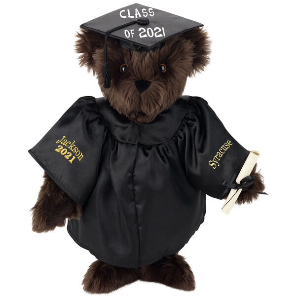 """15"""" Graduation Bear in Black Gown - Front view of standing jointed bear dressed in black satin graduation gown and cap and holding a rolled up diploma personalized """"Jackson 2021"""" on right sleeve and """"Syracuse"""" on left in gold - Espresso image number 7"""