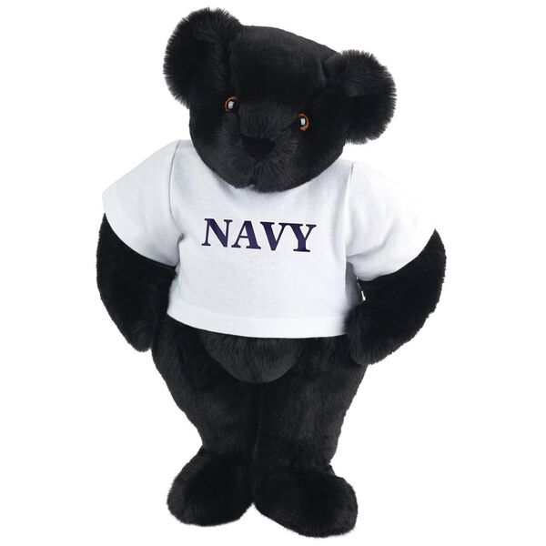 """15"""" Navy T-Shirt Bear - Front view of standing jointed bear dressed in white t-shirt with navy blue graphic that says, """"Navy"""" - Black fur image number 2"""