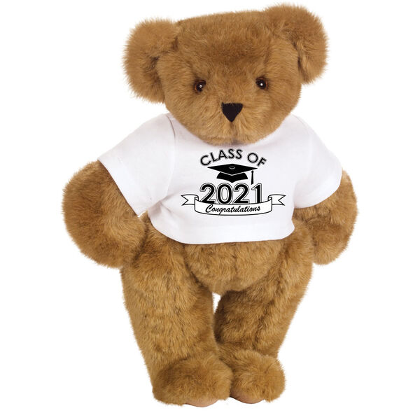 "15"" Graduation T-Shirt Bear - Standing jointed bear dressed in a white t-shirt with Class of 2021 on the front, personalized with ""Congratulations"" - Honey image number 0"