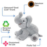 """15"""" Classic Elephant - Three quarter view of seated gray plush elephant with text that reads """"Upturned """"Good Luck"""" Trunk; Signature Eyes; Guaranteed For Life; Recycled Stuffing; Fluffy Tail"""".  image number 3"""