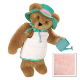 """15"""" """"Everything Grows with Love"""" Bear- Standing jointed bear in tan apron with green trim and flower embroidery, green hat with pink trim and green wooden watering can. Apron is personalized with """"Sarah"""" in pink writing - Pink image number 5"""
