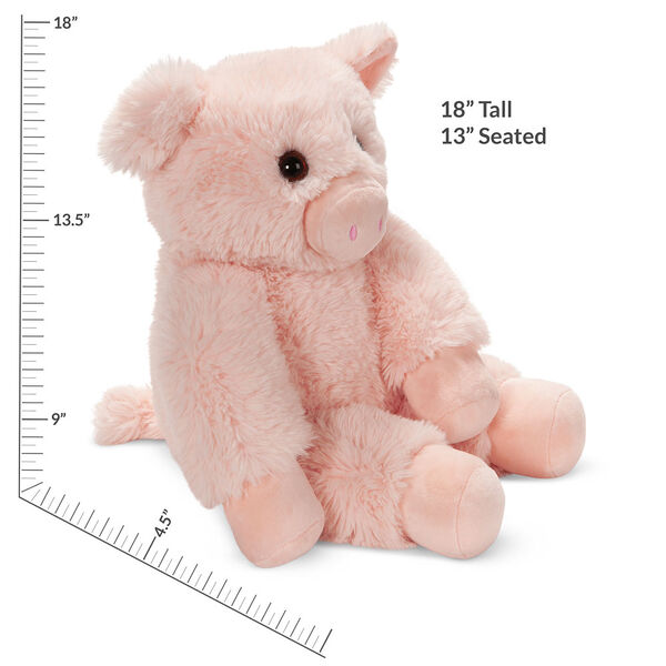 """18"""" Oh So Soft Pig - Three quarter view of seated soft plush pink pig with measurements that read """"18"""" Tall or 13"""" Seated"""". image number 2"""
