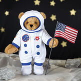 """15"""" Astronaut Bear - Standing jointed bear dressed in white space suit, boots, jet pack and helmet with blue trim, embroidered patches  on the moon holding an American flag (not included) - Honey brown fur image number 3"""