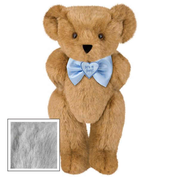 "15"" ""It's a Boy!"" Bow Tie Bear - Standing jointed bear dressed in light blue satin bow tie with ""It's a Boy!"" is embroidered on heart center - Gray fur image number 4"