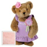 """15"""" Simply the Best Bear - Front view of standing jointed bear dressed in a lilac sundress with felt flower pin that says """"Simply the Best"""" in pink and pink flower on ear. Dress is personalized with """"Anna"""" in cream on front - Pink fur image number 4"""