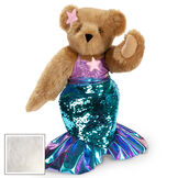 """15"""" Mermaid Bear - Three quarter view of standing jointed bear dressed in a blue sequin tail and purple top with shell embroidery an pink starfish applique and earpiece - vanilla white fur image number 4"""