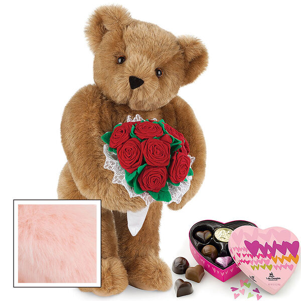 """15"""" Red Rose Bouquet Bear and Chocolates - Front view of standing jointed bear holding a large red bouquet wrapped in white satin and lace  and 6 pc. heart box of chocolates - Pink image number 6"""