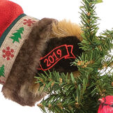 """15"""" Limited Edition Woodland Santa Bear - Close up of bear's right paw with """"2019"""" embroidered in gold lettering image number 2"""