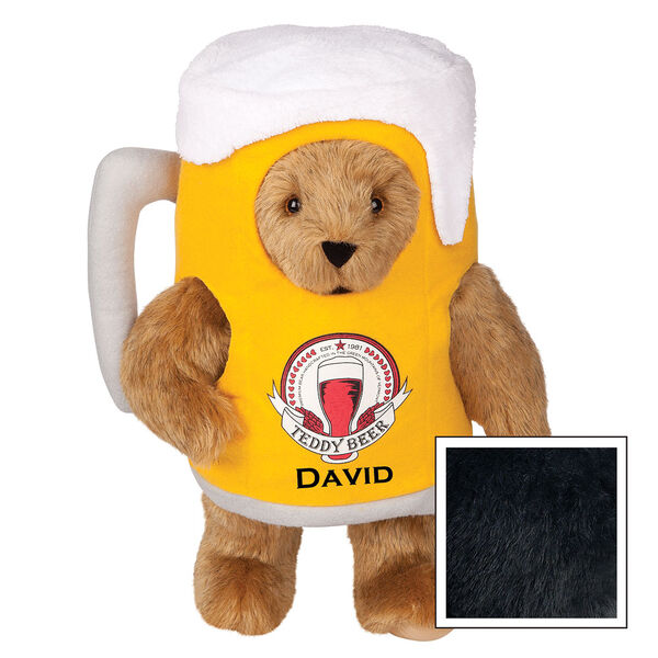 """15"""" Cheers to You Bear - Standing jointed bear dressed in gold and white beer mug costume with Vermont Teddy Bear beer bottle graphic that says """"Teddy Beer"""". Personalized with David below graphic in black lettering - Black image number 3"""