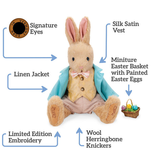 """16"""" Limited Edition Easter Bunny - Front view of jointed seated Rabbit in Easter outfit, text says, """"Signature Eyes; Silk Satin Vest; Miniature Easter Basket with Painted Easter Eggs; Wool Herringbone Knickers; Limited Edition Embroidery; Linen Jacket"""". image number 1"""