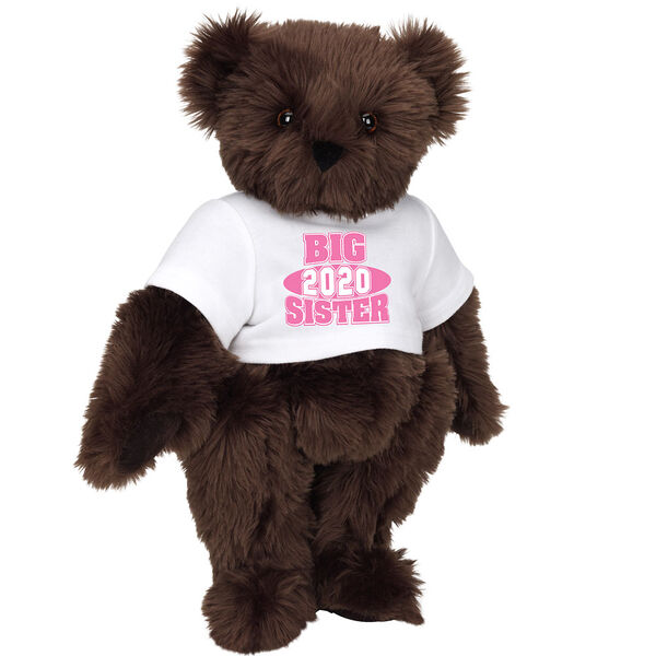 """15"""" 2020 Big Sister T-Shirt Bear - Standing jointed bear dressed in a white t-shirt with bright pink and white artwork that says, """"Big Sister 2020"""" on the front of the shirt - Espresso brown fur image number 5"""
