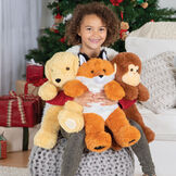 """18"""" Oh So Soft Puppy - 18"""" Monkey, 18"""" Puppy and 18"""" Fox being held by a girl in pajamas in a living room setting image number 3"""