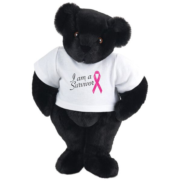 """15"""" Breast Cancer Survivor T-Shirt Bear - Standing jointed bear dressed in white t-shirt with bright pink cancer ribbon and says, """" I am a Survivor"""" - Black fur image number 3"""