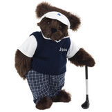 """15"""" Golfer Bear - Standing jointed bear in blue plaid pants, white polo shirt, dark blue vest and white visor holding a golf club - Espresso image number 6"""
