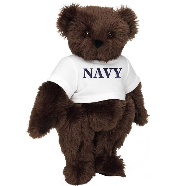 """15"""" Navy T-Shirt Bear - Front view of standing jointed bear dressed in white t-shirt with navy blue graphic that says, """"Navy"""" - Espresso brown fur image number 5"""