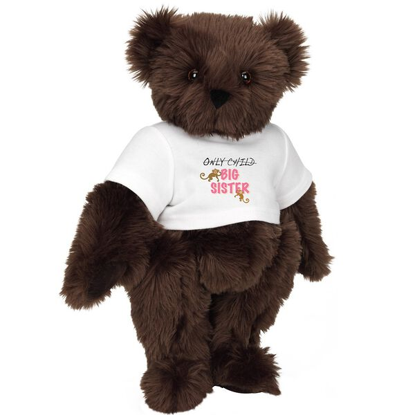 "15"" New Big Sister T-Shirt Bear - Front view of standing jointed bear dressed in white t-shirt with brown and pink graphic that says, ""only child (struck out) Big Sister"" with monkeys hanging from ""Sister"" - Espresso brown fur image number 6"