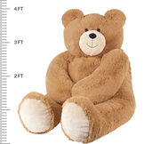 "4' Big Hunka Love Bear with Bow Tie - front seated view of honey brown bear with measurements of 48"" tall or 30"" seated image number 5"