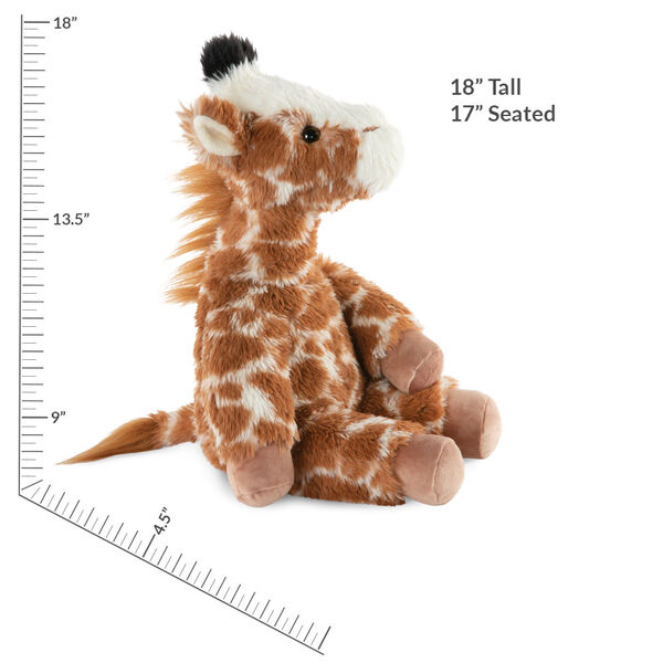 "18"" Oh So Soft Giraffe - Side view of seated brown and tan patterned Giraffe with ginger brown mane and tail, beige hooves, cream muzzle and black tipped horns measuring 18 in or 41 cm tall when standing image number 3"