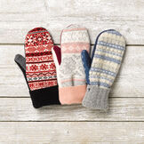 Bernie Mittens - Variety of Adult One Size Assorted multi colored wool blend mittens with fleece lining image number 0