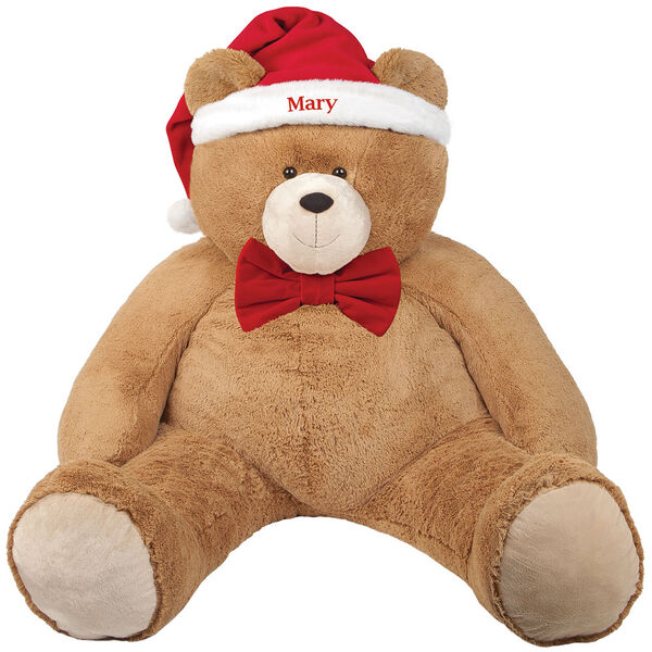 """4' Big Hunka Love Bear with Bow Tie and Santa Hat - Seated golden brown bear dressed in a red velvet bowtie and Santa Hat personalized with """"Mary"""" image number 4"""