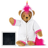 "15"" Unicorn Hoodie Bear - Front view of standing jointed bear dressed in a white fleece hoodie footie with rainbow horn, a hot pink cuffs and fur mane and tail - Black fur image number 4"