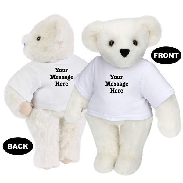 """15"""" Say Anything T-Shirt Bear - Front view of standing jointed bear dressed in white t-shirt with black graphic that says, """"Your message here"""" on the front and the back of the shirt - Vanilla white fur image number 2"""