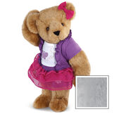 """15"""" Glitter Whimsy Bear - Three quarter view of standing jointed bear dressed in a pink skirt and hair bow, white shirt with butterfly graphic, purple shorts and sweater - Gray image number 4"""