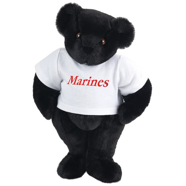 "15"" Marines T-Shirt Bear - Front view of standing jointed bear dressed in white t-shirt with red graphic that says, ""Marines"" - Black fur image number 3"
